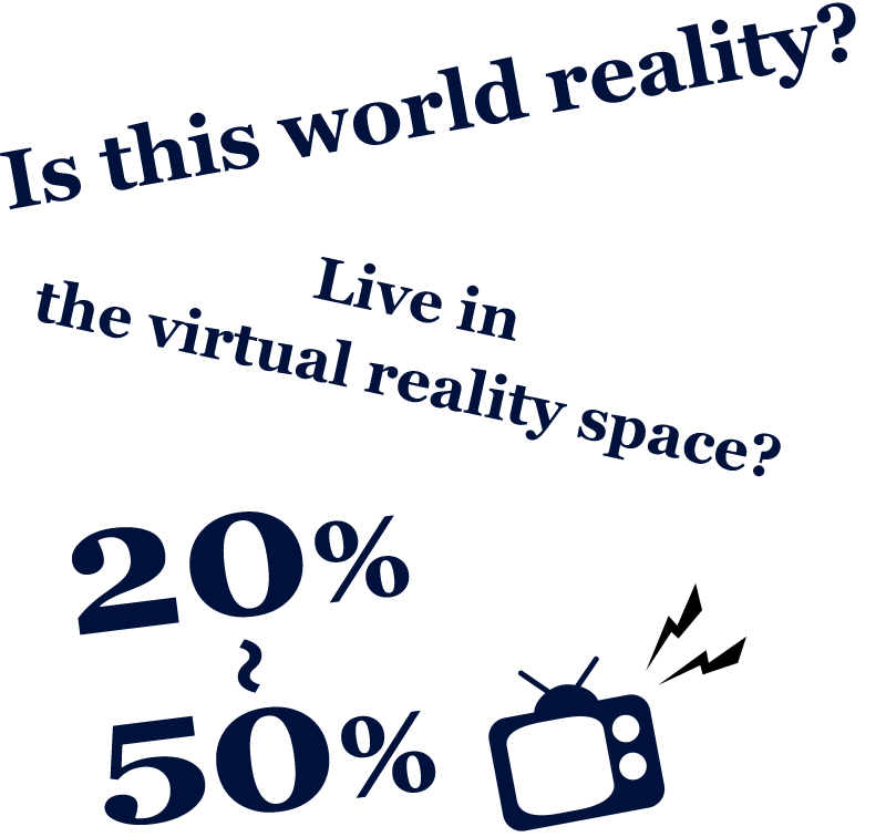 Is this world reality? Live in the virtual reality space? 20%~50%